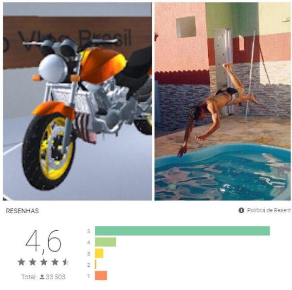 Imagem do jogo e do aluno Guilherme, seu autor, mergulhando em uma piscina.
