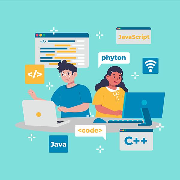 Programadores trabalhando com linguagens de programação